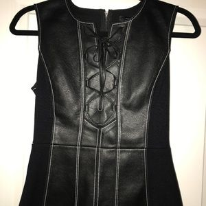 Leather Lace Up Peplum Tank Top